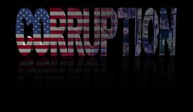 Corruption text with American flag and currency illustration Royalty Free Stock Photos
