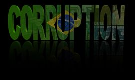 Corruption text with Brazilian flag and currency illustration. Corruption text with Brazilian flag and currency reflection on black 3d illustration Stock Photography