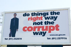 Corruption' widely publicised campaign, Zambia Royalty Free Stock Images
