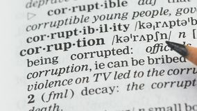 Corruption word in english vocabulary, lawbreaking activity and bribe taking. Stock footage stock video
