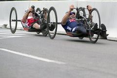 Corsa ai giochi di ParaPan - Toronto di Handcycle 8 agosto 2015 Immagine Stock Libera da Diritti