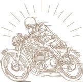 Corsa classica del motociclo illustrazione di stock
