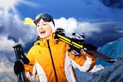 Corsa con gli sci alpina Immagini Stock Libere da Diritti