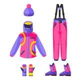 Corsa con gli sci, attrezzatura di snowboard - rivestimento, pantaloni, guanti, stivali, cappello del beanie Immagini Stock