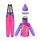 Corsa con gli sci, attrezzatura di snowboard - rivestimento, pantaloni, guanti, stivali, cappello del beanie Fotografia Stock Libera da Diritti