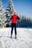Corsa con gli sci che attraversa il paese Immagine Stock