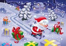 Corsa con gli sci del Babbo Natale nella notte. Fotografia Stock