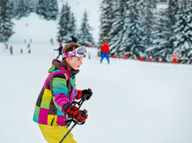 Corsa con gli sci del bambino Immagini Stock Libere da Diritti