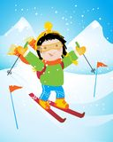 Corsa con gli sci del bambino royalty illustrazione gratis