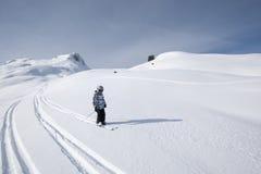 Corsa con gli sci del bambino, alpi francesi Immagini Stock