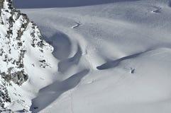 Corsa con gli sci del ghiacciaio Fotografie Stock