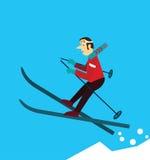 Corsa con gli sci del giovane Immagini Stock