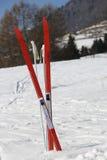 Corsa con gli sci del paese di croce rossa nell'inverno Immagine Stock