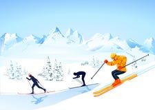 Corsa con gli sci del paese trasversale   Immagini Stock