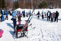 Corsa con gli sci del paese trasversale in Quebec immagine stock libera da diritti