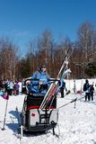 Corsa con gli sci del paese trasversale in Quebec fotografia stock libera da diritti