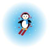 Corsa con gli sci del pinguino nella neve Fotografia Stock Libera da Diritti