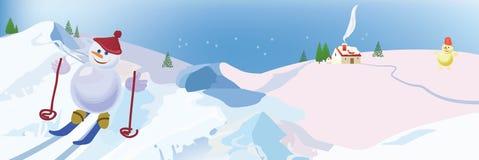 Corsa con gli sci del pupazzo di neve Immagini Stock