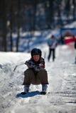 Corsa con gli sci del ragazzo Fotografia Stock Libera da Diritti