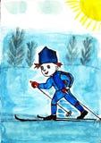 Corsa con gli sci del ragazzo Fotografia Stock