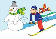 Corsa con gli sci del ragazzo e del pupazzo di neve Fotografia Stock