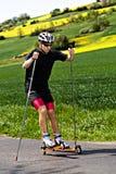 Corsa con gli sci del rullo fotografia stock