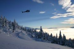 Corsa con gli sci dell'elicottero Fotografia Stock