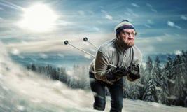 Corsa con gli sci dell'uomo Immagine Stock