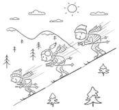 Corsa con gli sci della famiglia nelle montagne insieme Fotografia Stock