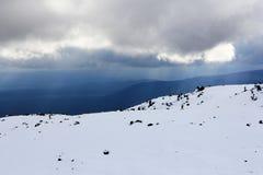 Corsa con gli sci della gente su una montagna nevosa immagini stock