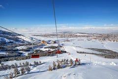 Corsa con gli sci della montagna, Palandoken Erzurum Immagini Stock Libere da Diritti