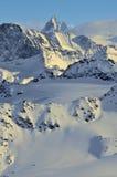 Corsa con gli sci della regione selvaggia ed il Matterhorn Immagini Stock Libere da Diritti