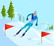 Corsa con gli sci dello sciatore sopra in discesa Fotografie Stock