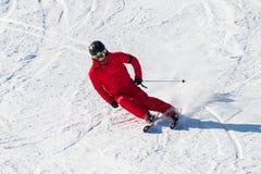 Corsa con gli sci dello sciatore su Deogyusan Ski Resort Immagine Stock