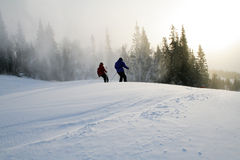 Corsa con gli sci di Downlill Fotografia Stock