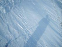 Corsa con gli sci di inverno, ombra, gelo, bianco, pulito, lanuginoso, sdrucciolevole, sciatore Fotografia Stock Libera da Diritti