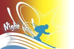Corsa con gli sci di notte Fotografia Stock