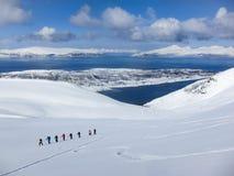 Corsa con gli sci di Randonee in Norvegia Fotografia Stock