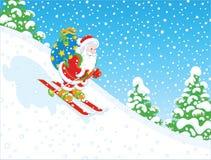 Corsa con gli sci di Santa con i regali Immagini Stock