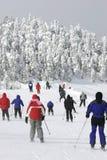 Corsa con gli sci in discesa fredda estrema Fotografia Stock