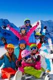 Corsa con gli sci, divertimento di inverno Fotografie Stock Libere da Diritti