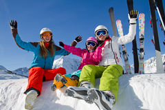 Corsa con gli sci, divertimento di inverno immagine stock libera da diritti