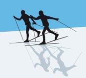Corsa con gli sci nordica Fotografia Stock
