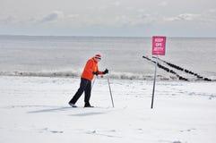 Corsa con gli sci perfetta dopo la bufera di neve a New York Immagine Stock