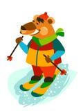Corsa con gli sci spensierata di Jolly Bear Fotografia Stock Libera da Diritti