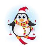 Corsa con gli sci sveglia del pinguino del bambino del fumetto Immagine Stock Libera da Diritti
