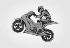 Corsa del bianco del nero di vettore di arte dell'illustrazione di moto immagini stock