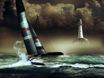 Corsa del catamarano Fotografia Stock Libera da Diritti