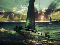 Corsa del catamarano Fotografie Stock Libere da Diritti