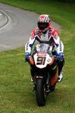 Corsa del cavaliere sul superbike della Honda cbr1000 Fotografia Stock Libera da Diritti